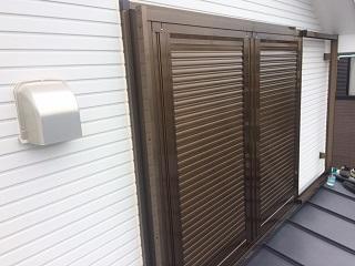 戸袋スペースのない場所に雨戸設置